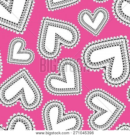 Funky Doodle Scatter Hearts On Pink Background