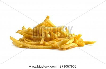French Fries On A White Background. A Pile Of Finished French Fries Close-up On A White Background.