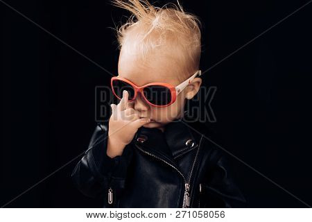Born To Be Rock And Roll Star. Adorable Small Music Fan. Little Child Boy In Rocker Jacket And Sungl