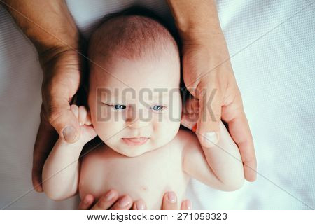 Happy Care. Newborn Baby Care. Obstetrics And Newborn Care. Baby Boy Or Girl Happy Smiling. Obstetri