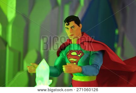 NOV 25 2018: Superman and kryptonite - Mego action figure