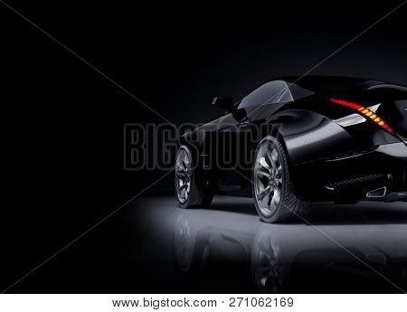 Black sports car. Non-branded original car design. 3D illustration.