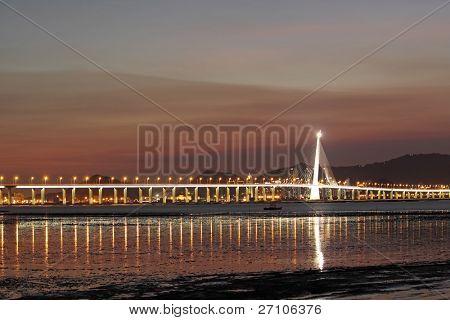 sunset in hongkong and kong sham western highway