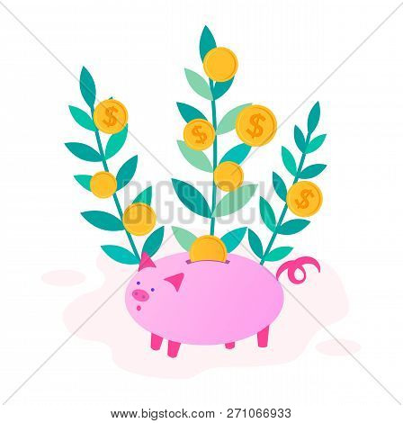Money Tree And Piggybank With Coin, The Concept Of Thrift, Economy And Capital Growth. Vector Illust