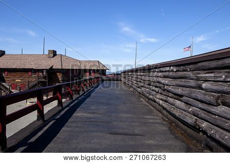 The path along the walls at Fort William Henry in Lake George New York poster