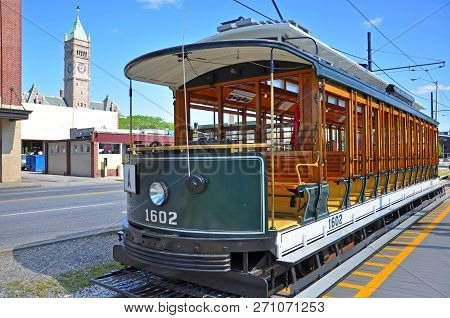 Historic Trolley In Lowell National Historic Park In Downtown Lowell, Massachusetts, Usa.