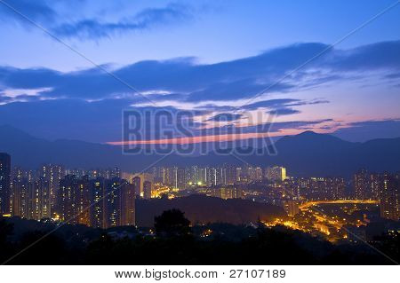 Hong Kong Sunset In Downtown Area