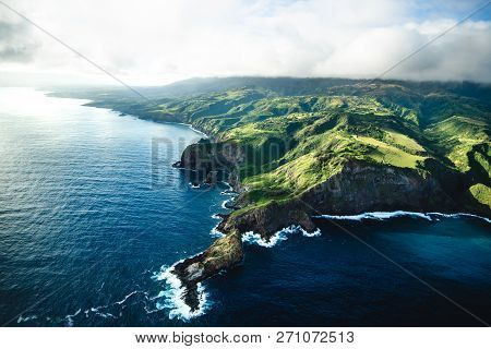 poster of Beautiful Aerial View of Tropical Island Paradise Nature Scene of Maui Hawaii On Clear Sunny Day with Vibrant Blue Ocean Water and Waves and Lush Green Mountain Scenic Landscape