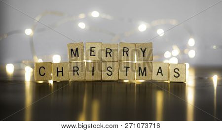Seasonal Festive Photo Banner Idea Of Stacked Wood Block Letters The Spell Out Merry Christmas With