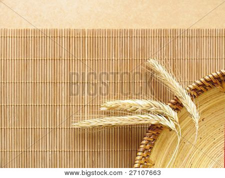 Wheat Ears On Wooden Plate