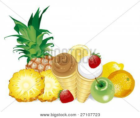 Desserts - Fruits And Ice-Cream  (Fully Editable Vector Image)