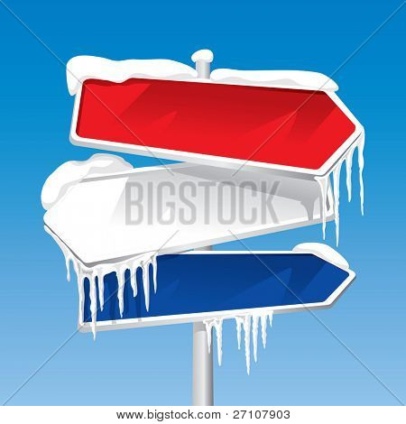 Frozen Signpost (editable vector). In the gallery also available XXL jpeg image made from this vector