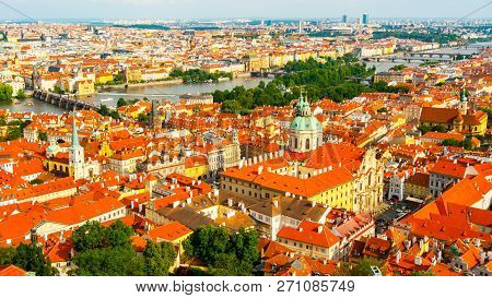 Aerial View Of Mala Strana, St. Nicholas Chirch, Charles Bridge And Old Town, Prague, Czech Republic
