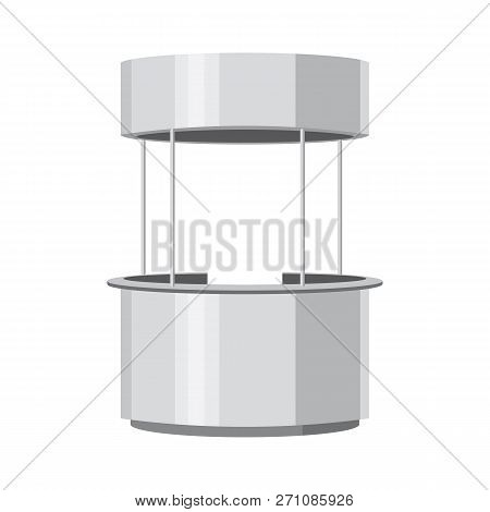 Round Advertisement Pos Poi. Retail Stand Stall Bar Display With Roof Canopy Banner. Slender White.