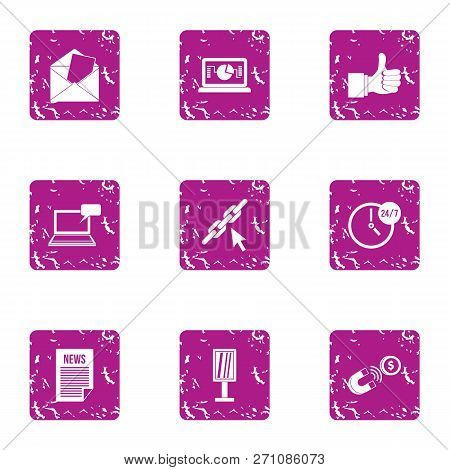 Novelty Icons Set. Grunge Set Of 9 Novelty Icons For Web Isolated On White Background