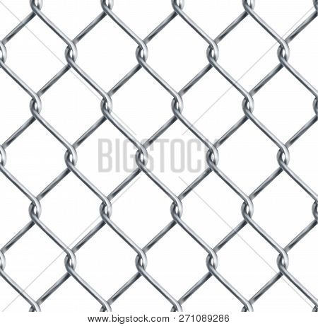 Realistic Chain Link , Chain-link Fencing Texture Isolated On Transparency Background, Metal Wire Me