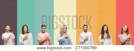 Collage of different ethnics young people over colorful stripes isolated background cheerful with a smile of face pointing with hand and finger up to the side with happy and natural expression on face