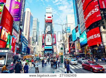 New York City, United States - November 2, 2017:   City life in Times Square at daytime.