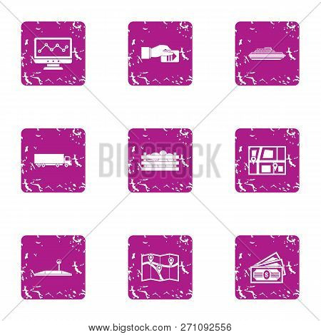 Carriageway Icons Set. Grunge Set Of 9 Carriageway Icons For Web Isolated On White Background