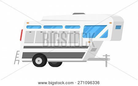 Trailers Or Family Rv Camping Caravan. Tourist Bus And Tent For Outdoor Recreation And Travel. Mobil