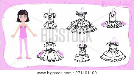 Little Ballet Dancer. Dress Up Colored Paper Doll In Cartoon Style With Ballet Tutu. Color, Cut And