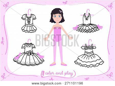 Young Girl As Little Ballet Dancer. Dress Up Paper Doll In Cartoon Style With Ballet Tutus In Black