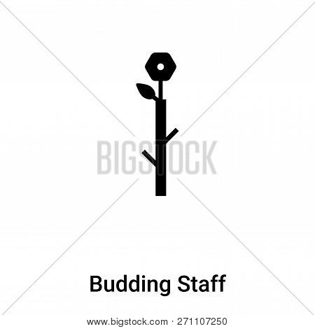 Budding Staff Icon In Trendy Design Style. Budding Staff Icon Isolated On White Background. Budding