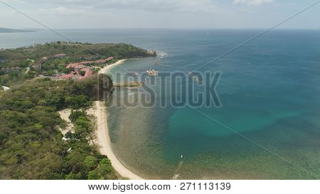 Aerial View Of Coast With Beach, Hotels. Philippines, Luzon. Coast Ocean With Tropical Beach, Turquo