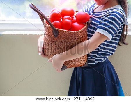 Caucasian Cute Girl In Navy Blue Striped Dress, Carrying Red Hearts Basket To Cheer Up Family. Her G
