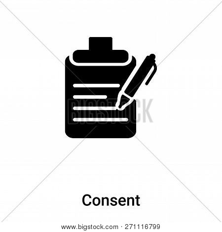 Consent Icon In Trendy Design Style. Consent Icon Isolated On White Background. Consent Vector Icon