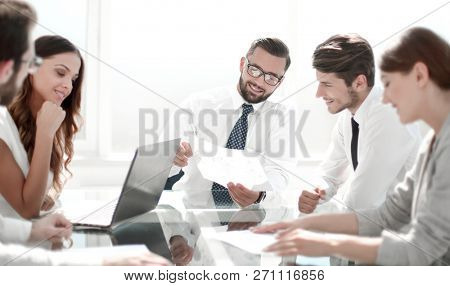 professional business team discusses the terms of the contract