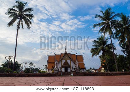 The Temple Gate Of Buddhist Temple Of Wat Phumin In Nan, Thailand .