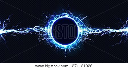 Powerful Electrical Round Discharge Hitting From Side To Side Realistic Vector Illustration Isolated