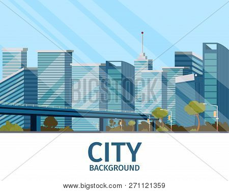 Vector Drawing Image Of The City Background. Vector Illustration Of A Cartoon City Landscape Buildin
