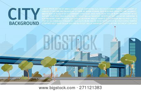 Vector Drawing Image Of The City Landscape. Banner Vector Illustration Of A Cartoon City Landscape B