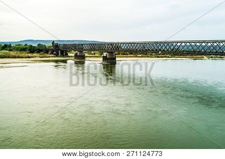 Old Train Bridge Near Koblenz During Drought Germany, Low Water Rhine River Influending Water Transp