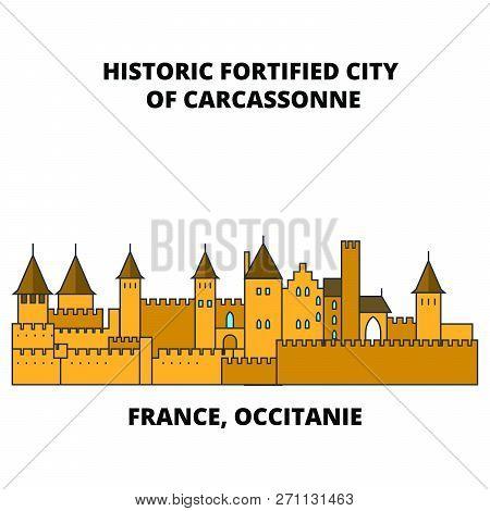 France, Occitanie - Historic Fortified City Of Carcassonne Line Travel Landmark, Skyline, Vector Des