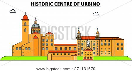 Historic Centre Of Urbino  Line Travel Landmark, Skyline, Vector Design. Historic Centre Of Urbino