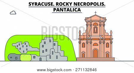 Syracuse. Rocky Necropolis - Pantalica  Line Travel Landmark, Skyline, Vector Design. Syracuse. Rock