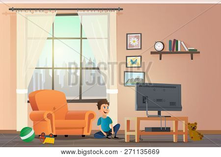 Vector Cartoon Illustration Concept Happy Children. Image Smiling Little Boy Playing Set Top Box On