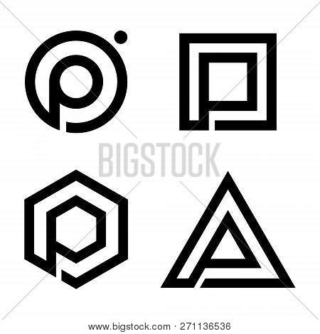 Set Flat Letter P Symbol For Your Best Business Symbol. Simple P Letter Technology Vector Symbol. Ve