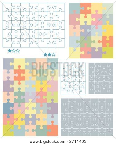 Jigsaw puzzle blank templates for 4x5 (20 pieces) and 5x7 (35 pieces) cuts with corresponding pastel colors patterns all pieces separattable poster
