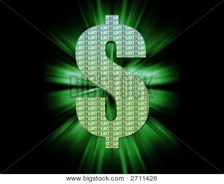 Money Symbol On Black Background