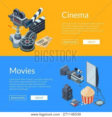 Vector Cinematograph Isometric Elements Web Banner Templates Illustration. Colored Poster With Text