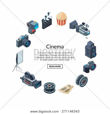 Vector Cinematograph Isometric Elements In Circle Shape With Place For Text Illustration