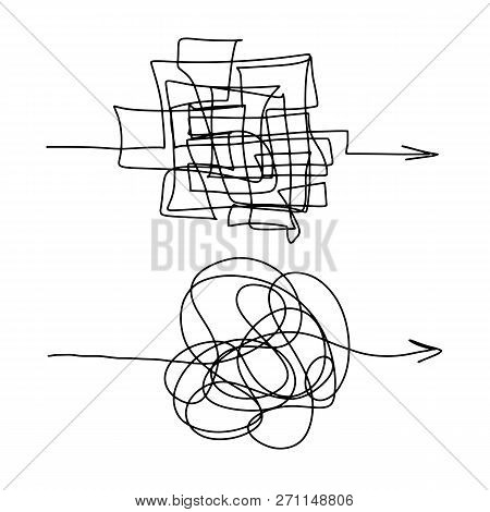 Chaotic Difficult Process Way Illustration, The Maze Of Lines Ball Vector Illustration