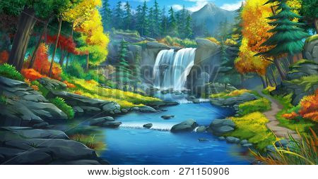 The Waterfall Forest. Fiction Backdrop. Concept Art. Realistic Illustration. Video Game Digital Cg A