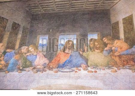 Milan, Italy - November 15, 2016: Close Up Panorama Of The Last Supper Painting Of Leonardo Da Vinci