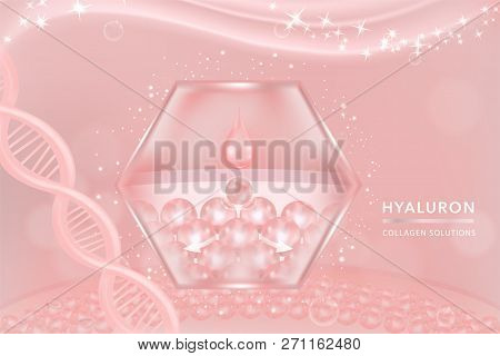 Hyaluronic acid skin solutions ad, pink collagen serum drop with cosmetic advertising background ready to use, vector illustration. poster