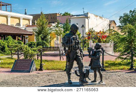 Simferopol, Crimea - August 17, 2018: To Polite People From Grateful Inhabitants Of Crimea, A Monume